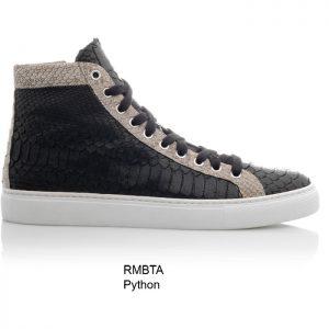 Sneaker van python leer, half hoog, zwart/taupe Riccamente