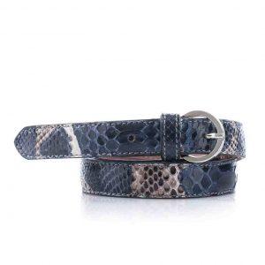 Python leren dames riem, jeans blauw, naturel