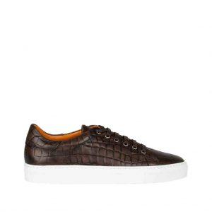 Sneaker leer, croco/kroko embossed bruin Riccamente OUTLET