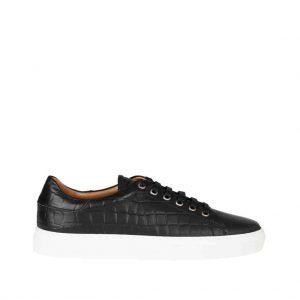 Sneaker leer croco printed, zwart