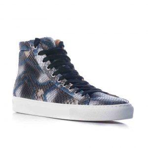 Python leren sneaker, blauw, zwart MAAT 42 Riccamente OUTLET