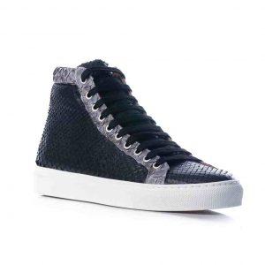 Python leren sneaker zwart, grijs MAAT 41 Riccamente OUTLET