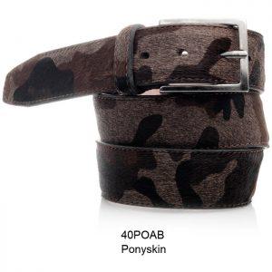 Pony leren riem, bruin/zwart camouflage print